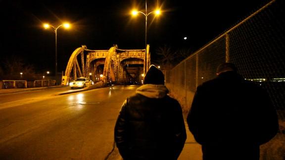 Teddy Williams and Sam Spitz walk down Chicago