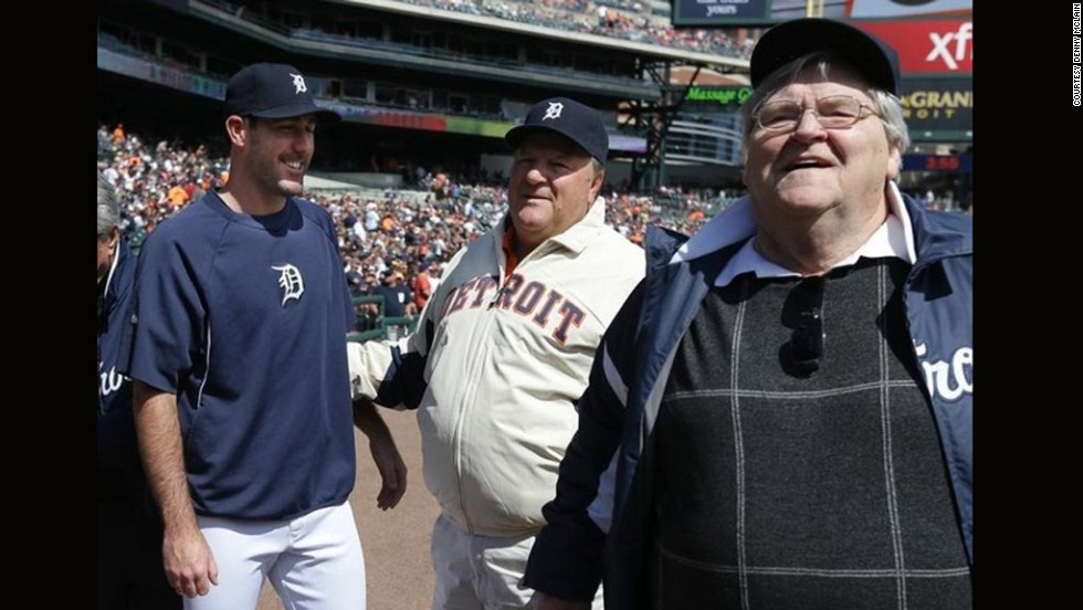 McLain gained weight steadily after retiring from baseball. Here he hangs out with current Detroit Tiger pitcher Justin Verlander, left, and McLain's former teammate, Jon Warden, center, at last summer's 45th anniversary of the Tigers' 1968 World Series win.