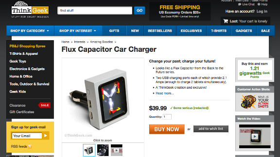 """ThinkGeek offered this """"Flux Capacitor Car Charger,"""" inspired by the """"Back to the Future"""" movies."""