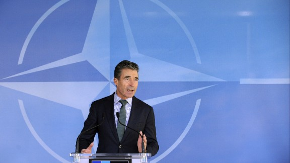 NATO Secretary General Anders Fogh Rasmussen talks during a press conference prior to a Foreign Affairs ministers meeting at the NATO headquarters in Brussels on April 1, 2014. NATO foreign ministers will gather in Brussels on Tuesday as the defence alliance seeks to reinforce its eastern frontier against a resurgent Russia emboldened by the annexation of Crimea.