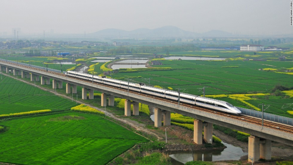 China takes the title for the longest rail bridge -- in fact the longest bridge of any kind -- with the 102 mile Danyang--Kunshan Grand Bridge. Opened in 2011, it connects Shanghai to Nanjing along the Beijing-Shanghai High-Speed Railway.