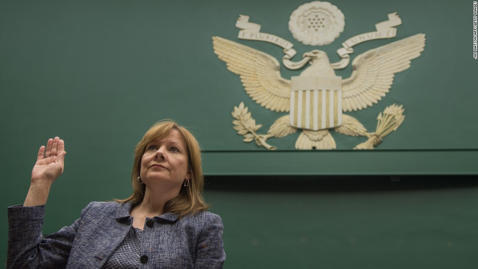 "General Motors CEO Mary Barra is sworn in before the House Energy and Commerce Committee on Tuesday, April 1, in Washington. Barra <a href=""http://money.cnn.com/2014/04/01/news/companies/barra-congress-testimony/"">apologized</a> for the 13 deaths that GM says were caused by a faulty ignition switch, and she apologized for GM's 10-year delay in issuing a recall."