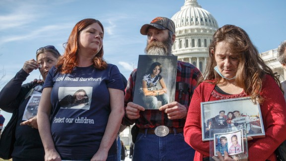 People represent their lost family members at the news conference April 1. From left: Kim Langley, mother of Richard Scott Bailey; Laura Christian, mother of Amber Marie Rose; Randal Rademaker, father of Amy Rademaker; and Mary Ruddy, mother of Kelly Ruddy.