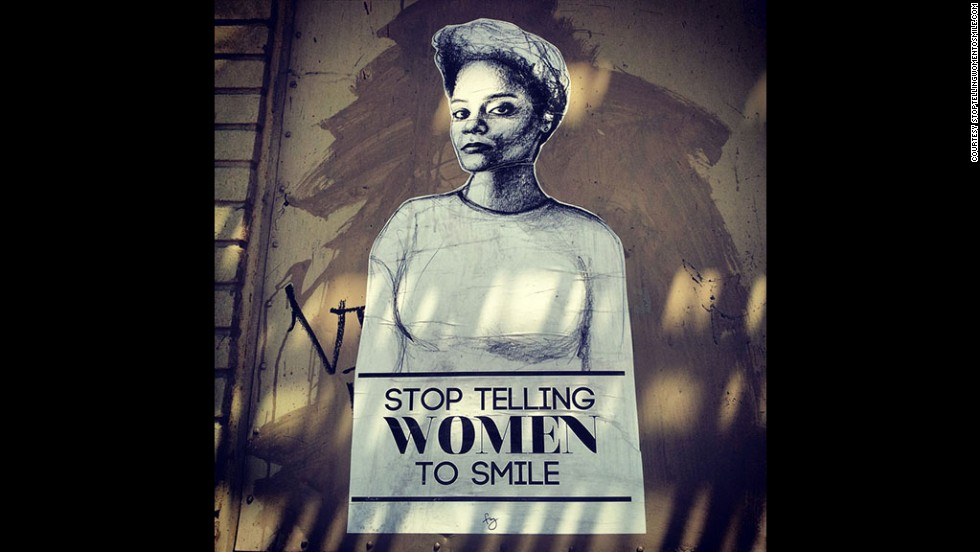 """Stop Telling Women to Smile"" is an art project that has grown into a nationwide street art campaign to deter gender-based street harassment. Tatyana Fazlalizadeh's portraits include captions that tell passersby what women don't want to hear when they're walking down the street. Fazlalizadeh shared images of her work with people around the world so they could wheat-paste them in their communities on Friday, April 4, as part of International Anti-Street Harassment Week. This self-portait of Fazlalizadeh captures a common form of street harassment in which men often tell women to ""smile."""