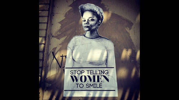 """""""Stop Telling Women to Smile"""" is an art project that has grown into a nationwide street art campaign to deter gender-based street harassment. Tatyana Fazlalizadeh"""