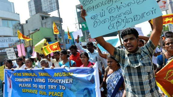 Sri Lankan protesters demonstrate in 2014 against a U.N. resolution calling for a war crimes probe.