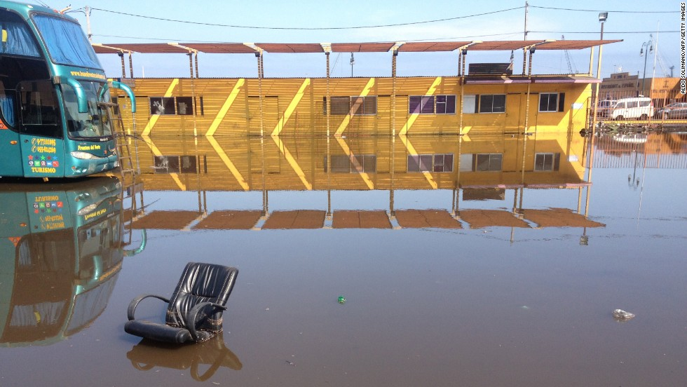 A chair floats in a flooded area of Iquique on April 2.