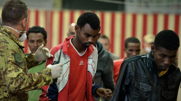 [File photo] African migrants are rescued off the island of Lampedusa on October 25, 2013.