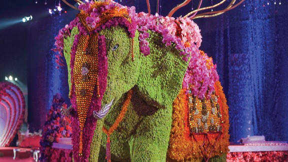 The elephant in the room was a giant, Bailey-designed floral sculpture at the center of the celebration.