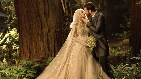 """Facebook's Sean Parker and bride Alexandra Lenas married in 2013 in Big Sur, California, in a Bailey-designed """"fantasy in the forest."""""""