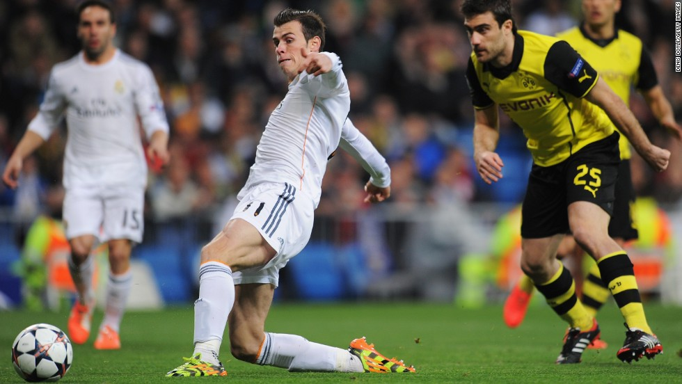 Real Madrid beat Borussia Dortmund 3-0 in the first leg of their Champions League quarterfinal Wednesday. Gareth Bale opened the scoring in the third minute by poking the ball past Roman Weidenfeller.