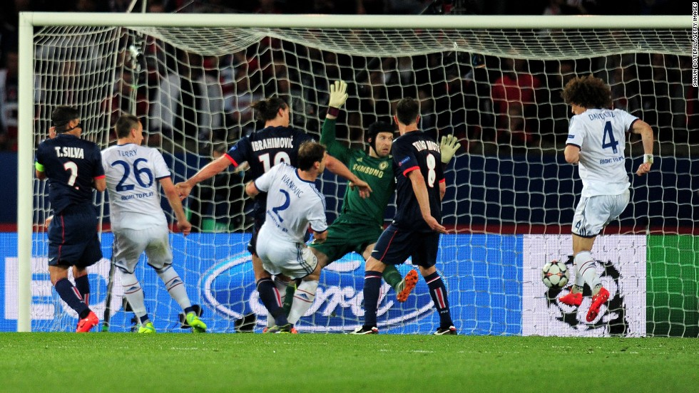 David Luiz's own goal, pictured, and Javier Pastore's effort in injury time gave PSG the win.
