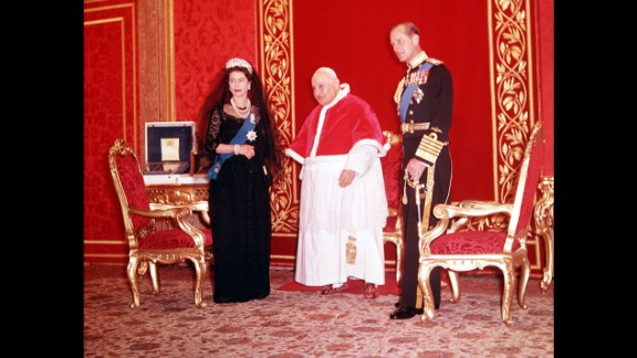 The Queen and Prince Philip are pictured with Pope John XXIII at the Vatican in 1961.