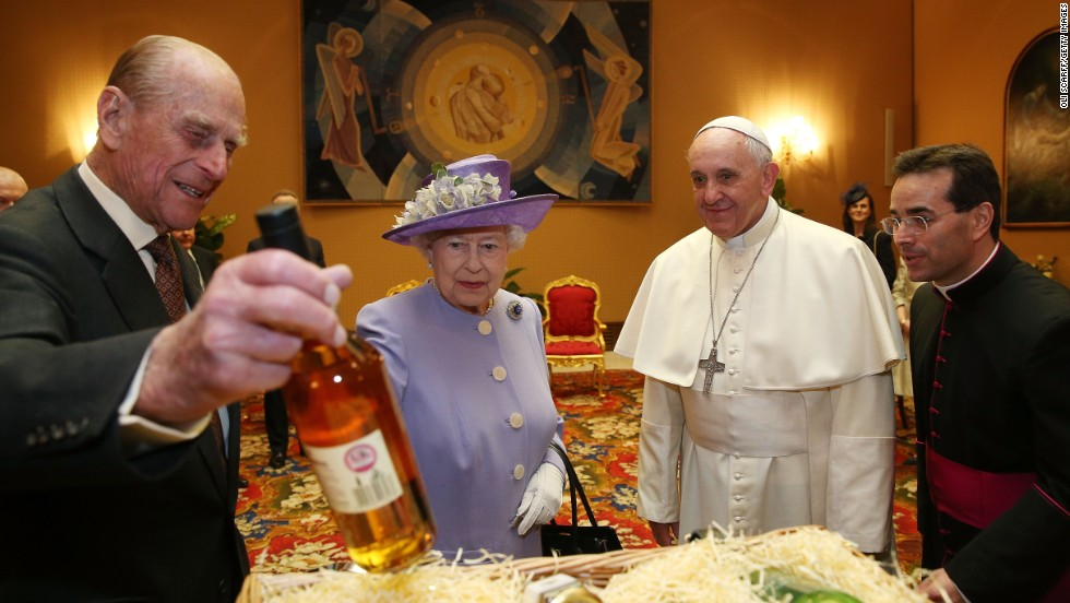 Queen Elizabeth II and Prince Philip, Duke of Edinburgh, have an audience with the Pope during their one-day visit to Rome in April 2014.