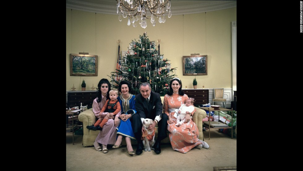 This 1968 Christmas photo shows President Lyndon B. Johnson posing with his family, his daughters grown and married, at the White House. With him, from left, daughter Luci Johnson Nugent holding Lyn Nugent; and wife Lady Bird Johnson. Sitting to his right; daughter Lynda Johnson Robb holding Lucinda Robb.
