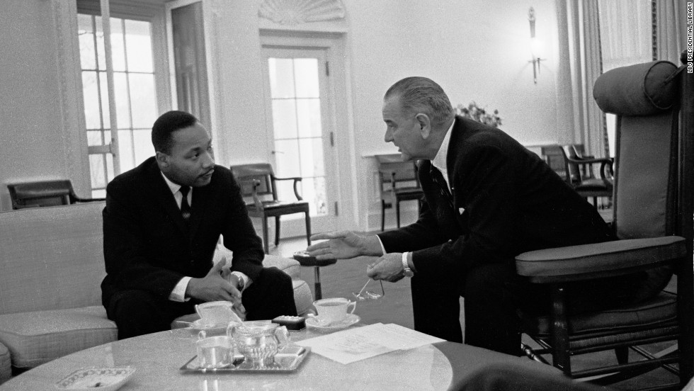 Martin Luther King, Jr. talks with President Lyndon B. Johnson at the Oval Office in the White House in Washington, D.C., on December 3, 1963.