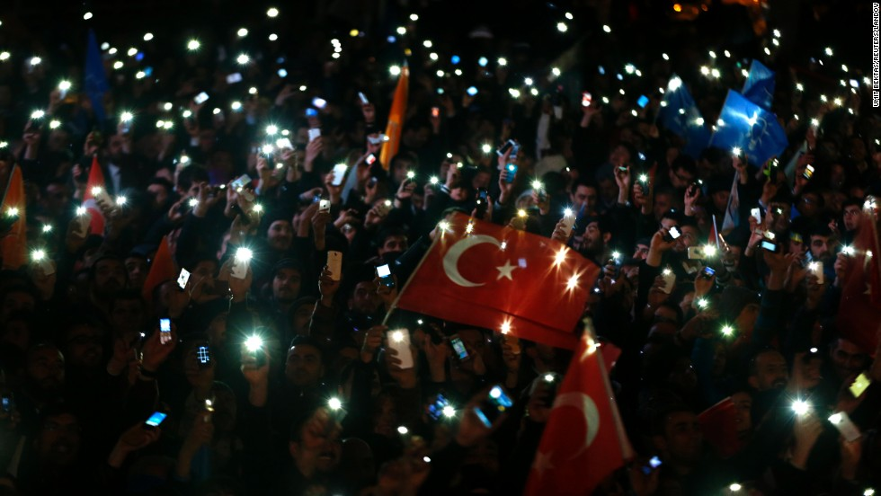 "Supporters of Turkish Prime Minister Recep Tayyip Erdogan turn on their cell phones as they celebrate election victory in Ankara, Turkey, on Monday, March 31. Erdogan's ruling party appeared to be heading for a clear victory in local elections. <a href=""http://www.cnn.com/2014/03/28/world/gallery/week-in-photos-0328/index.html"">See last week in 32 photos</a>"
