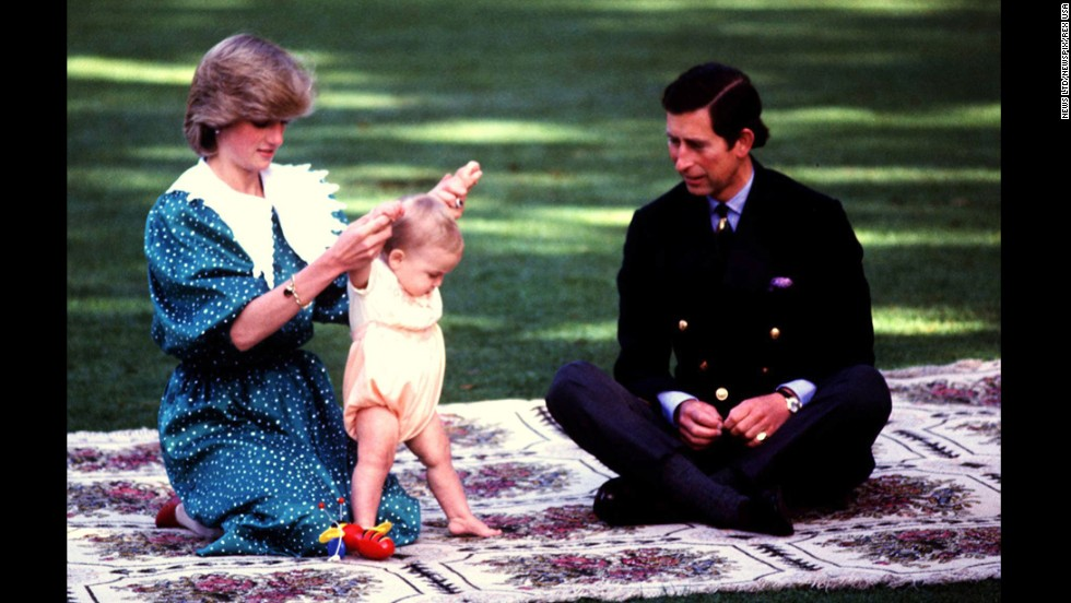 Princess Diana and Prince Charles relax with their son William during their royal tour in Auckland, New Zealand, in April 1983.