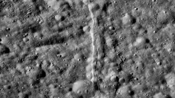 The surface of Dione is seen in this May 2012 image.