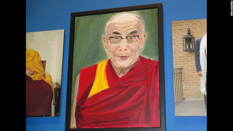 Bush's portrait of the Dalai Lama is seen at the exhibit.