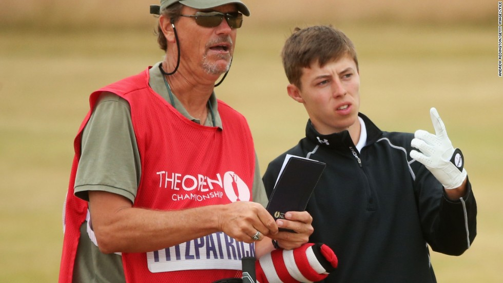 Fitzpatrick's win means the English teenager is eligible to play in three of golf's four majors: the British Open, U.S. Open and The Masters, which tees off Thursday. He is pictured here with caddy Lorne Duncan in Gullane, Scotland last year.