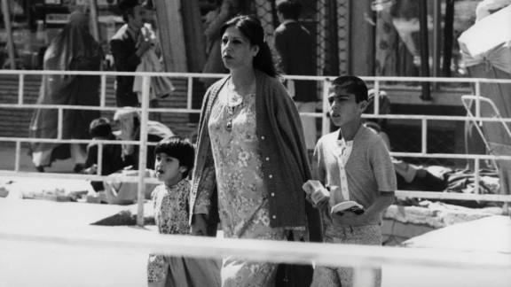 """This picture taken in 1981 shows a well-groomed woman and her children on the streets of Kabul. """"We used to be a fairly modern country,"""" says Mosadiq."""