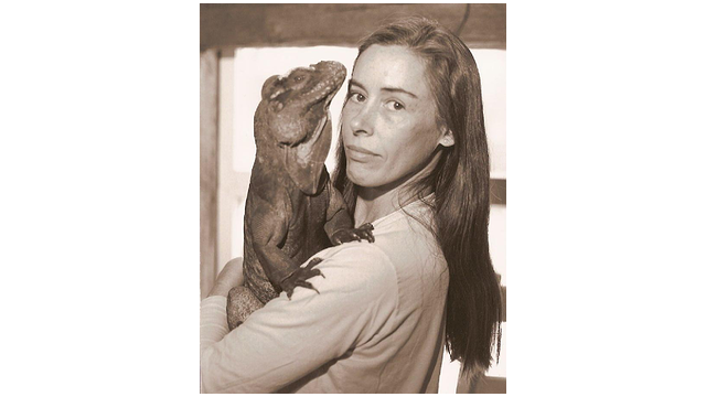 Wendy Townsend and her rhinocerous iguana Sebastian.