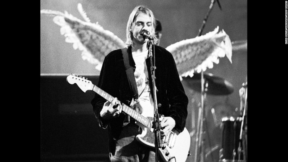 Cobain performs with Nirvana at the The Pier in Seattle in 1993.