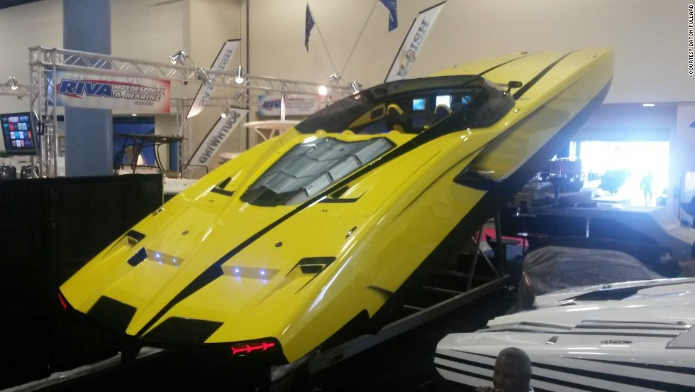 Introducing the $1.1 million Lamborghini-inspired supercar yacht, on show at the Miami Boat Show.