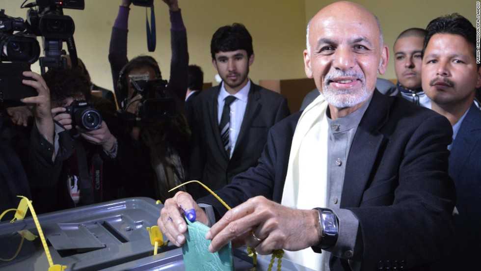 Presidential contender Ashraf Ghani casts his ballot at a polling station in Kabul. Ghani, who earned his doctorate at Columbia University, is from the Pashtun ethnic group. His running mate is Abdul Rashid Dostum, a leader of the Uzbek ethnic group.