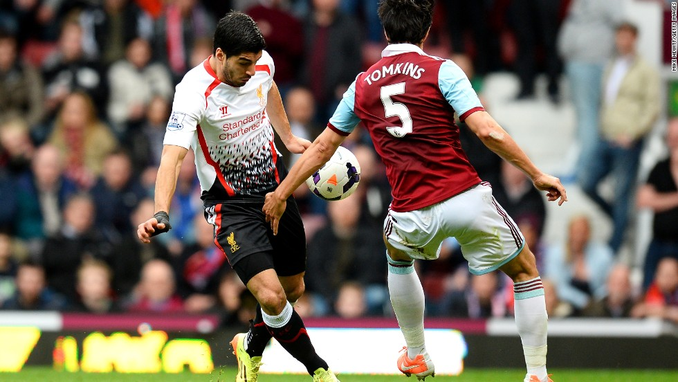 The opening spot-kick came after home defender James Tomkins handled the ball as Liverpool's top scorer Luis Suarez tried to flick it past him.
