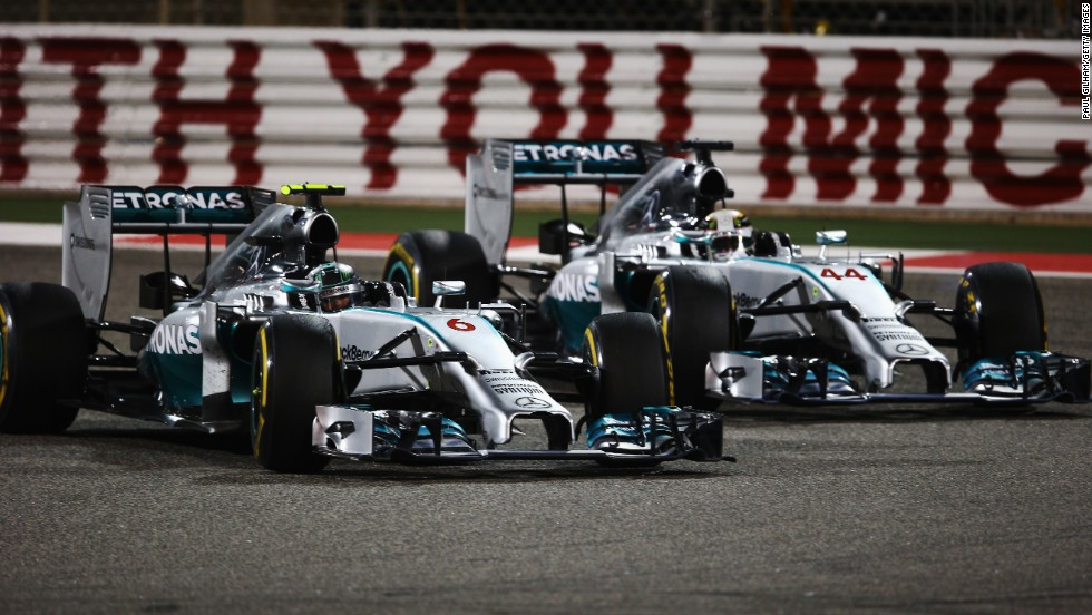 Nico Rosberg (left) and Mercedes teammate Lewis Hamilton battle for the lead during the Bahrain Grand Prix at the Bahrain International Circuit in Sakhir.