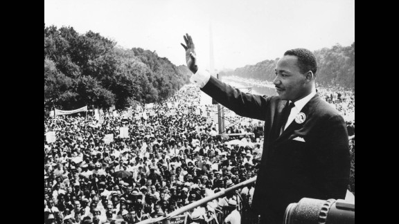 """King addresses the crowd at the Lincoln Memorial in Washington, where he delivered his famous """"I Have a Dream"""" speech on August 28, 1963."""