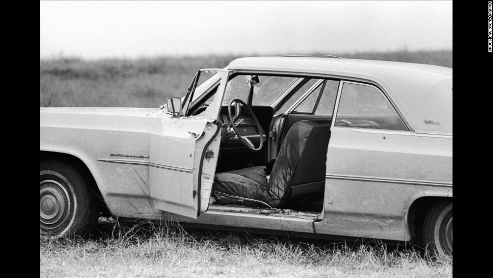 The car belonging to Viola Liuzzo sits off the road near Selma, Alabama, in 1965. Liuzzo, a white housewife from Detroit, felt compelled to drive to Selma to help the civil rights movement after seeing demonstrators beaten on television. While driving on a deserted road in the small town one night, Liuzzo's car was run off the road and she was shot to death. Her death showed the nation that the civil rights movement was not just an African-American struggle -- it was an American struggle.