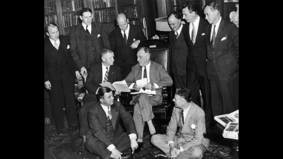 On September 12, 1935, Franklin D. Roosevelt and his staff met to find a solution to the economic crisis. FDR