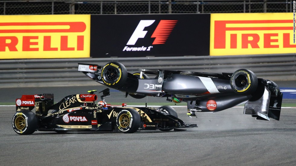 Formula One driver Esteban Gutierrez goes airborne after crashing with Pastor Maldonado during the Bahrain Grand Prix on Sunday, April 6. He was not injured.