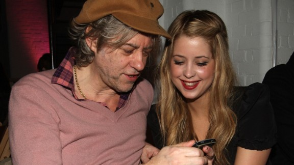 Model and TV personality Peaches Geldof, seen here with her father, Bob Geldof, an Irish musician and Live Aid organizer, has died, according to a statement from her father on Monday, April 7.
