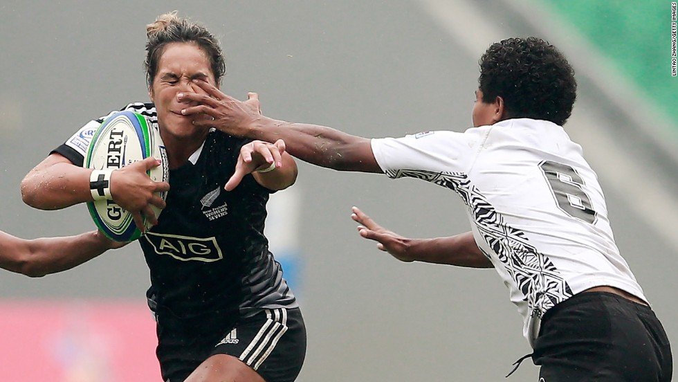 Hurianan Manuel of New Zealand gets poked in the eye Sunday, April 6, during a match against Fiji in the IRB Women's Sevens World Series.