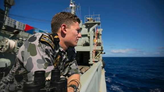 Able Seaman Marine Technician Trent Goodman keeps lookout onboard HMAS SUCCESS whilst the ship is deployed in search of the missing Malaysia Airlines Flight MH370. *** Local Caption *** Joint Task Force 658 has been established by the ADF to coordinate supporting military forces engaged in the search for missing Malaysia Airlines flight MH370. Under the name Operation SOUTHERN INDIAN OCEAN, ADF assets from the Royal Australian Navy and Royal Australian Air Force have joined the search for debris, recovery and investigation of the missing flight.