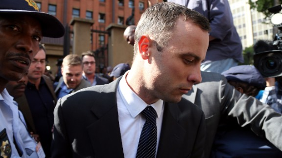 Oscar Pistorius leaves court in Pretoria, South Africa, on Tuesday, April 8, after testifying about the night he fatally shot his girlfriend Reeva Steenkamp.