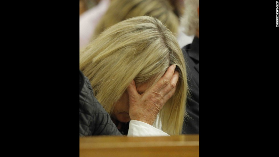 June Steenkamp, Reeva Steenkamp's mother, reacts as she listens to Pistorius' testimony on April 8.