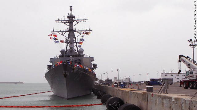 The USS Donald Cook, pictured docked in Spain in this February file photo, has now been sent to the Black Sea.