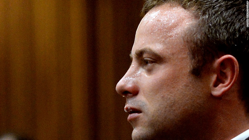 Pistorius cries as he listens to cross-questioning on March 10.