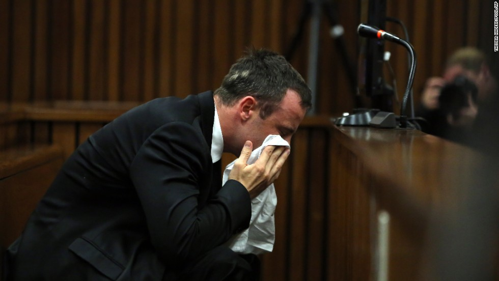 Pistorius cries in court on April 7, the first day of the defense phase.