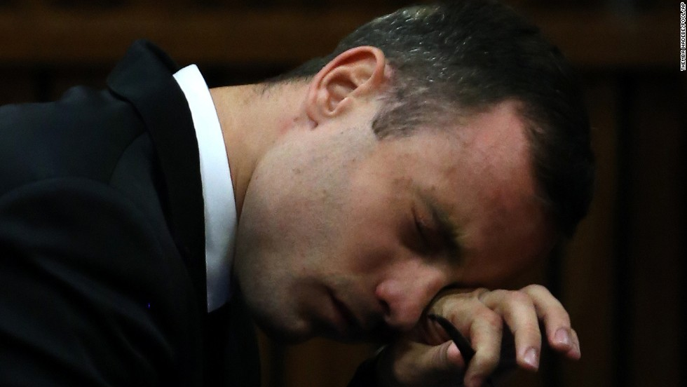 Oscar Pistorius listens to evidence presented in a Pretoria, South Africa, courtroom during his murder trial on Monday, April 7. Pistorius, the first double amputee runner to compete in the Olympics, is accused of intentionally killing his girlfriend, Reeva Steenkamp, in February 2013. Pistorius has pleaded not guilty to murder and three weapons charges.