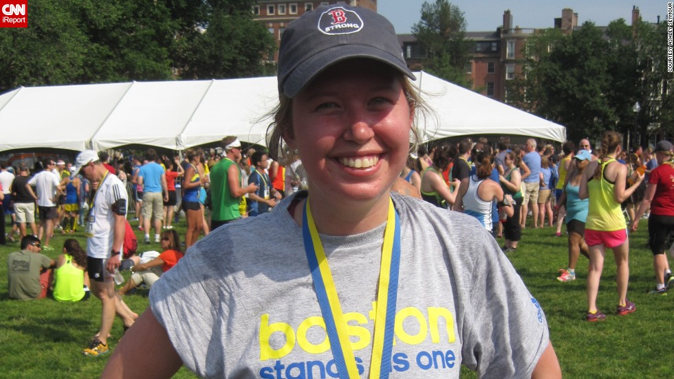 """I wanted to run for those that can't run anymore,"" said Boston resident <a href=""http://ireport.cnn.com/docs/DOC-1063995"">Ashley Seymour</a>. She was standing near the Boston Marathon finish line when the first bomb went off. She had been a runner all her life, but hadn't done a race since tearing her ACL in 2011. Running became part of her emotional healing process. Since the bombings, she has run a 10K and a half-marathon."