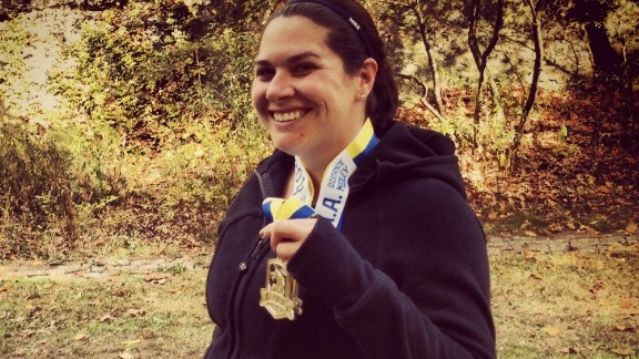 """""""Running has been a stress relief for me, but this year meant a little more,"""" said Boston resident Gina Berrettoni, who knew several people who were running last year"""