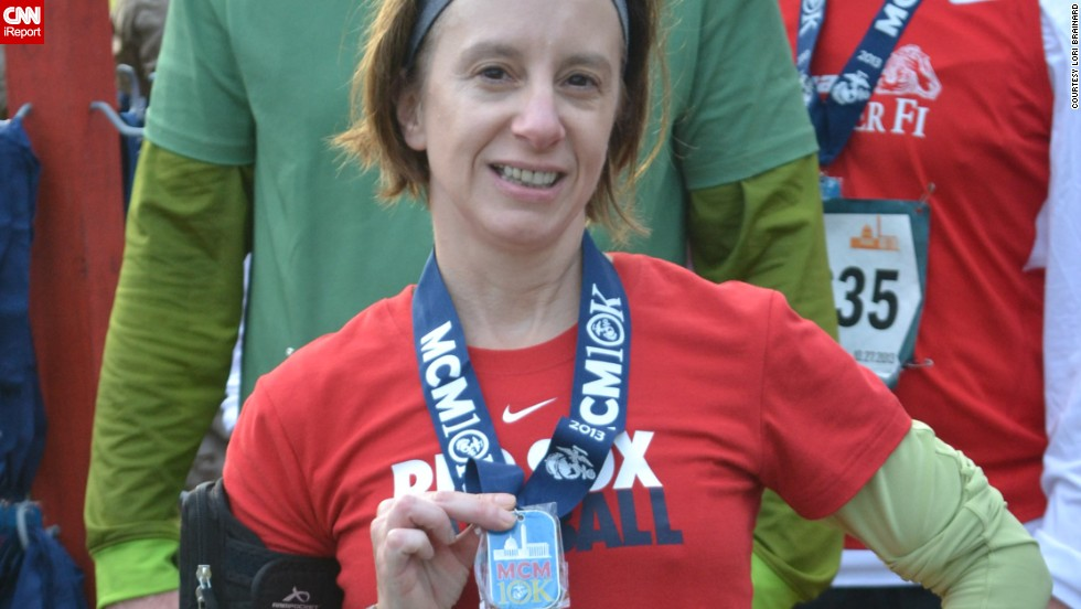 """The tight muscles -- the little aches and pains -- remind me that I'm alive,"" said <a href=""http://ireport.cnn.com/docs/DOC-1063393"">Lori Brainard</a> of Washington. She started running in 2004, but had been on a hiatus. Brainard, who grew up in Somerville, Massachusetts, signed up for her first race after the Boston Marathon bombing."
