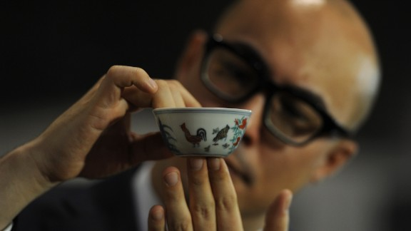 """The world-record """"chicken cup,"""" perhaps the most sought-after item of Chinese porcelain"""