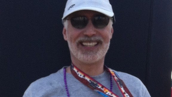 """Terry Moorhead of Phoenix did not plan to run another marathon -- this was his sixth -- but after the bombings, """"I I felt compelled to do at least one more. I think about how lucky I am to be able to run, and I will never take it for granted."""" He proudly wore a Boston Strong shirt for the Arizona Rock"""